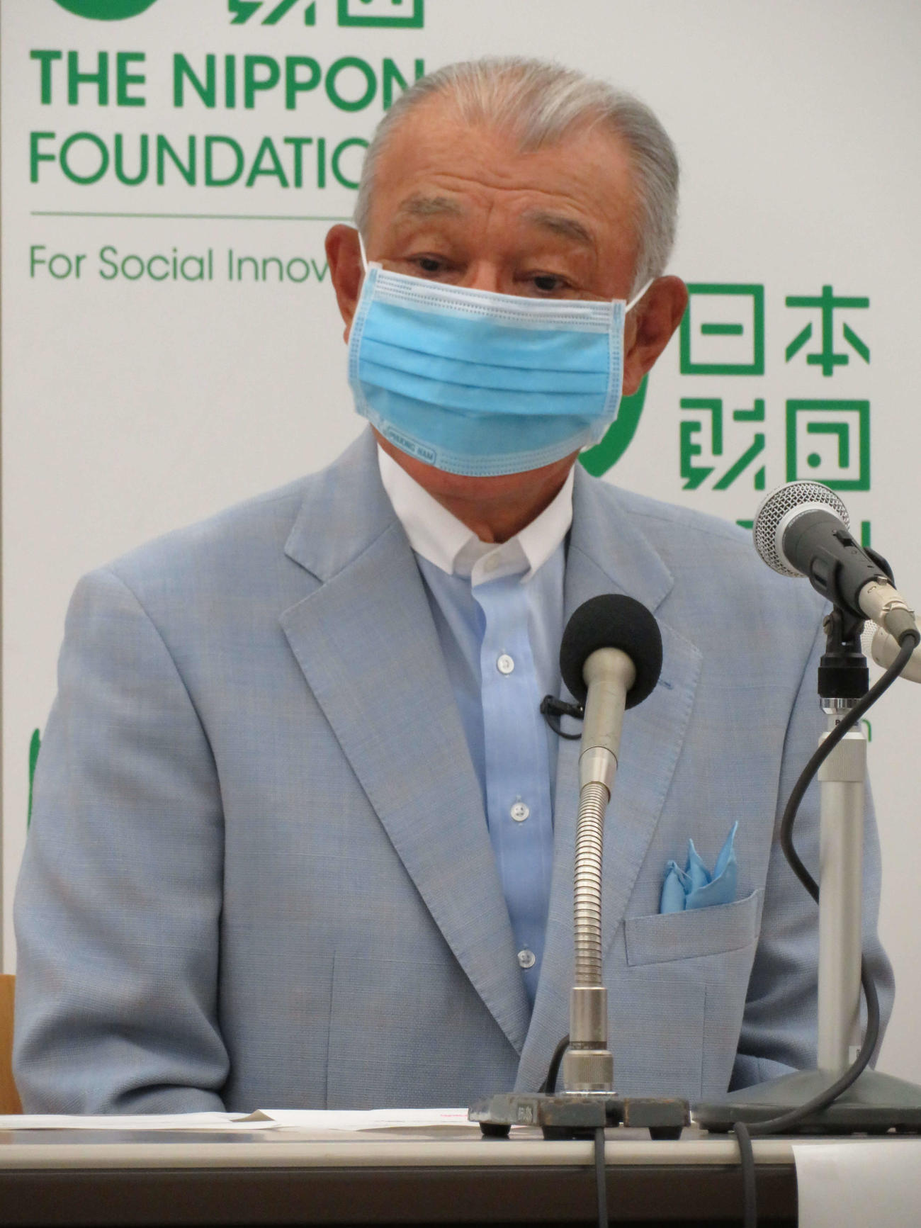 新型コロナウイルス対策支援策に関する会見を行った日本財団の笹川陽平会長(撮影・近藤由美子)
