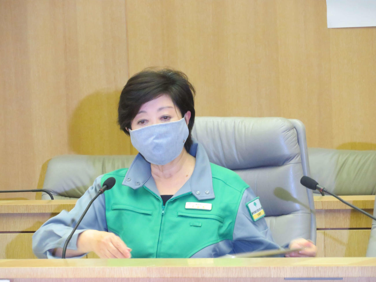 第29回東京都新型コロナウイルス感染症対策本部会議に出席した小池百合子知事(撮影・村上幸将)