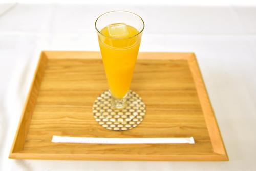 藤井聡太棋聖が午後のおやつタイムに注文した「パインジュース」(日本将棋連盟)