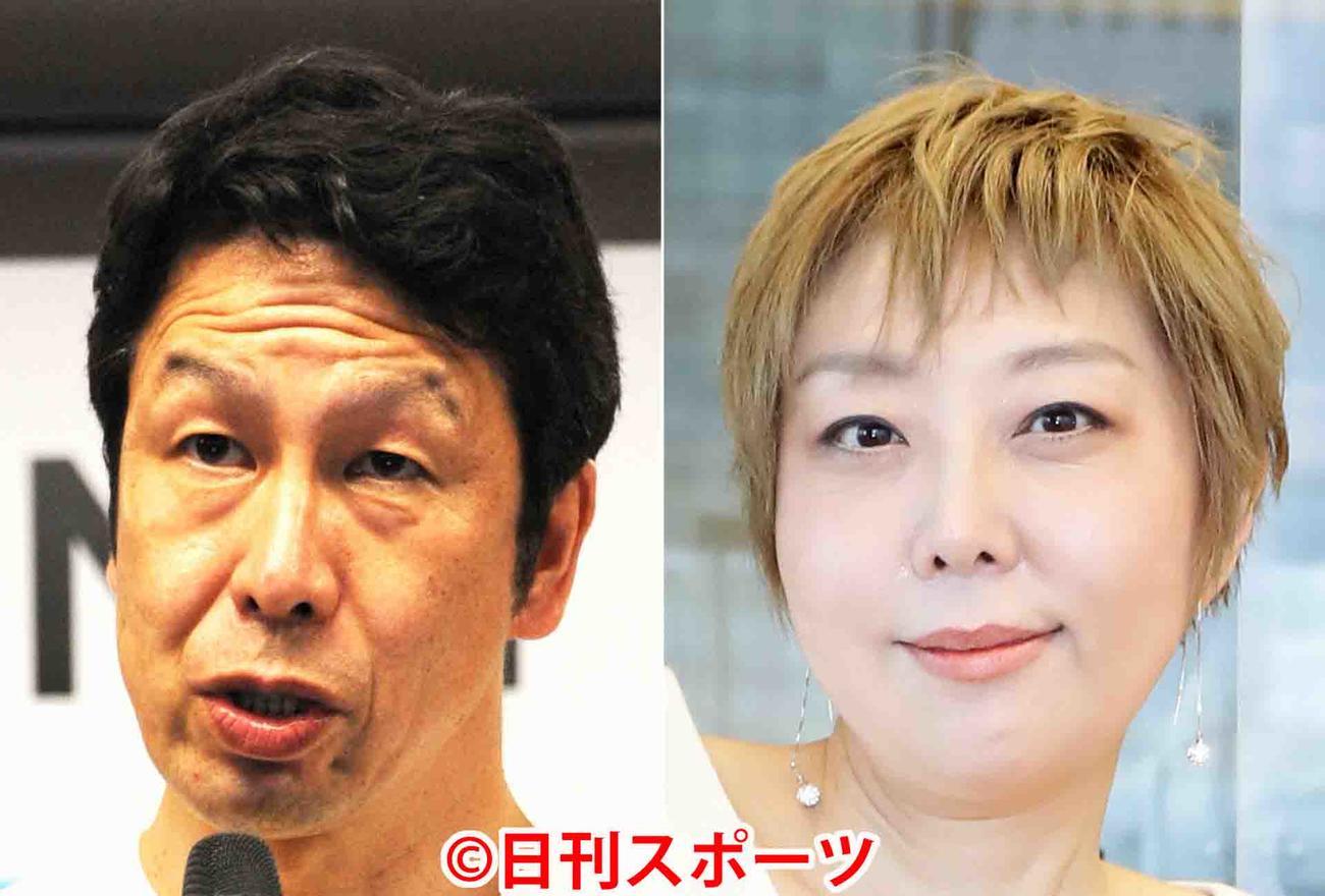 米山隆一氏(左)と室井佑月氏