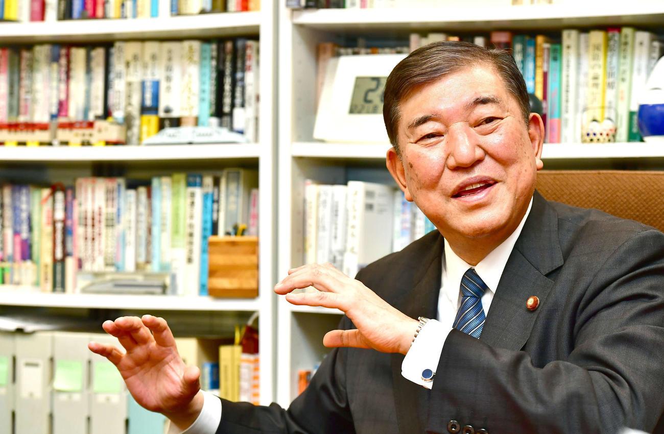 自らの政治信条について語る自民党の石破茂元幹事長(撮影・小沢裕)