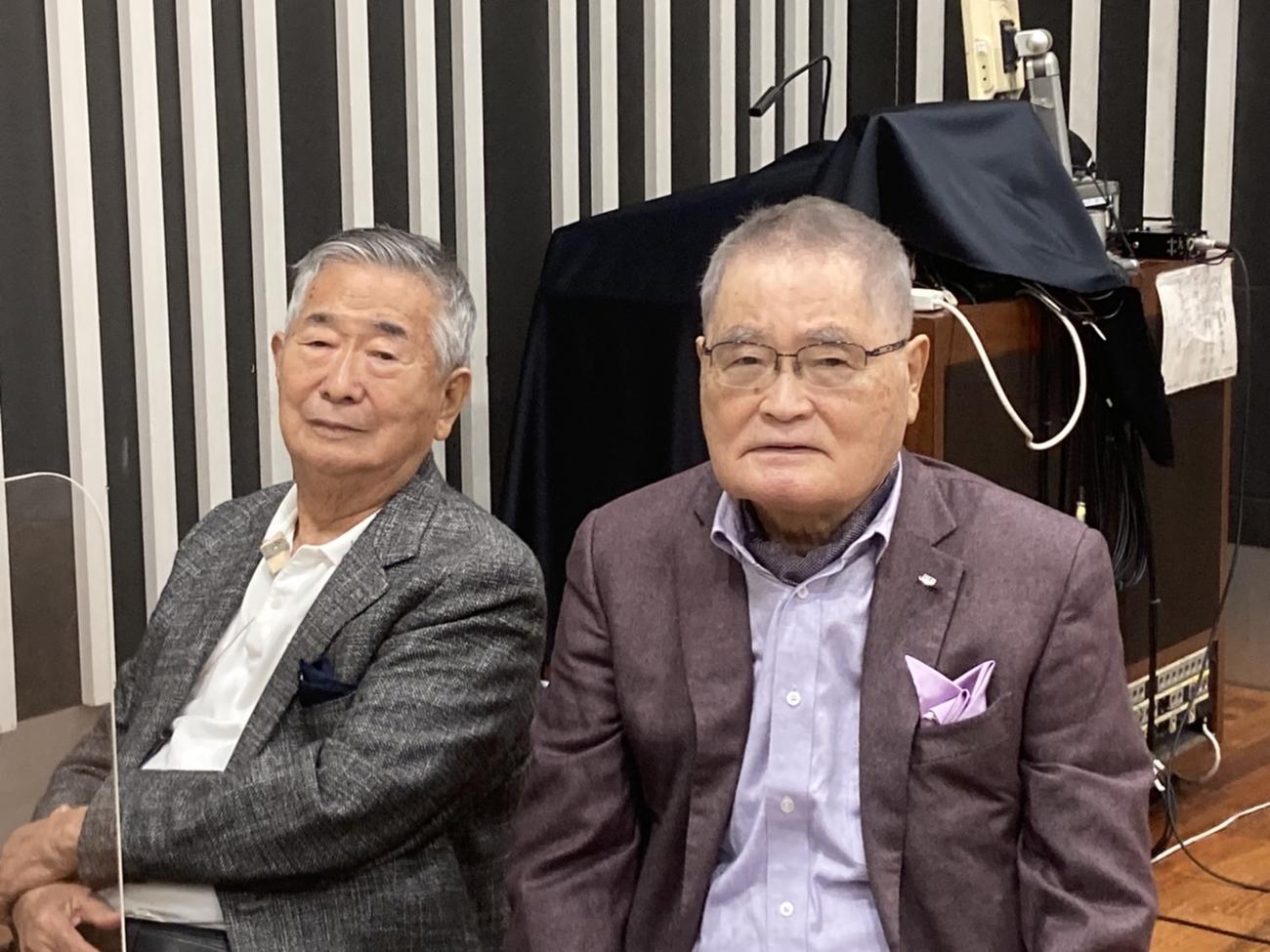 新春放談の収録に参加した石原慎太郎氏(左)と亀井静香氏(ニッポン放送提供)