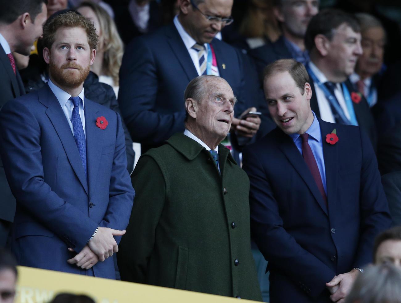 15年、ラグビーW杯決勝を観戦するフィリップ殿下(中央)。左はヘンリー王子、右はウィリアム王子(AP)