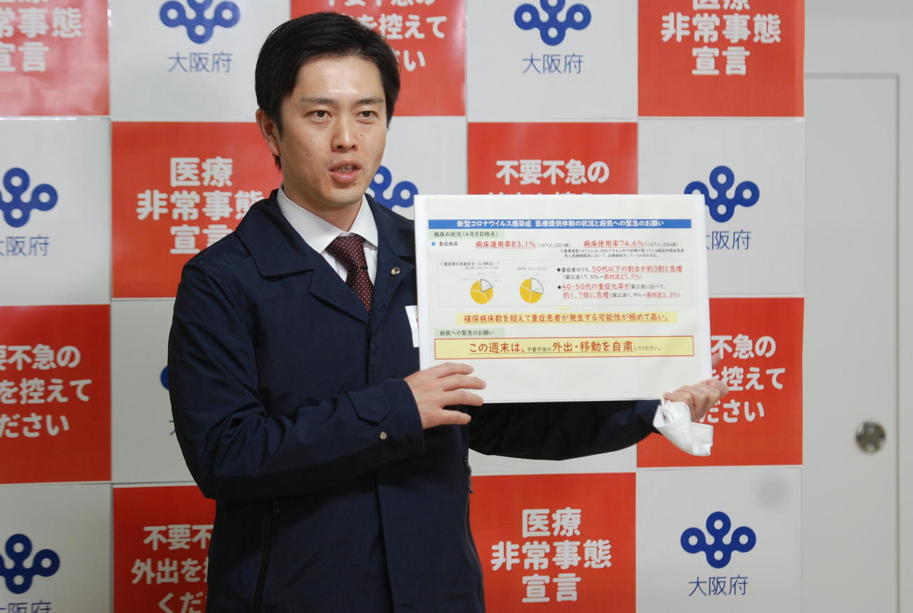 吉村洋文知事(2021年4月9日撮影)