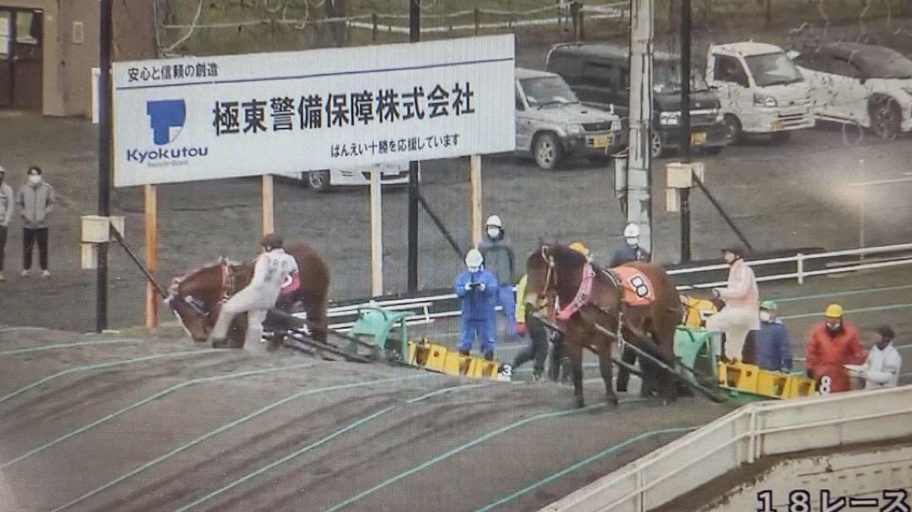 鈴木恵介騎手が馬を蹴り上げたシーン(ばんえい競馬公式HPの動画より)