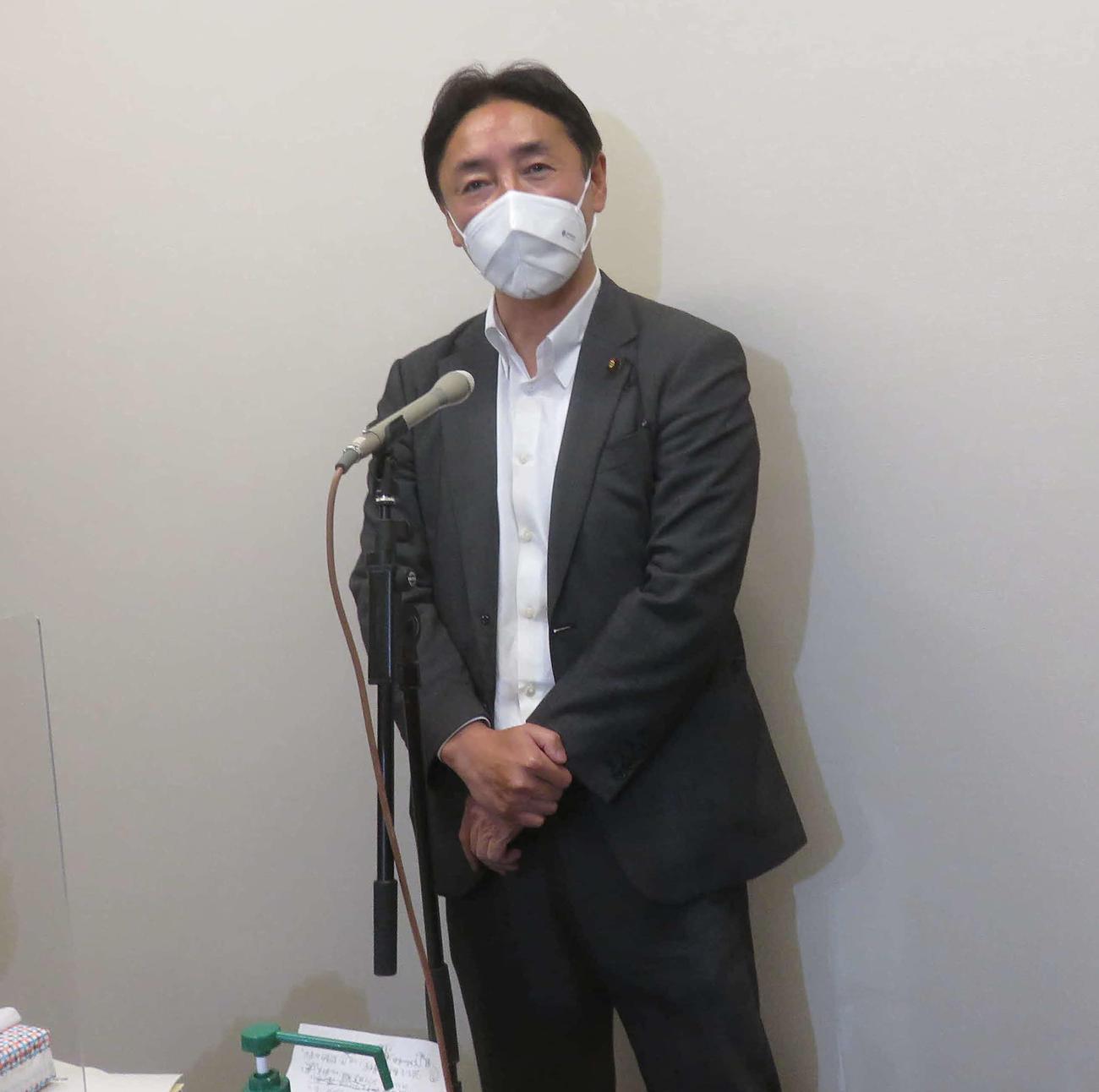 後藤田正純衆院議員は、次期衆院選で非公認を求めた自民党徳島県連の主張を批判し、徹底抗戦の構えだ(撮影・大上悟)