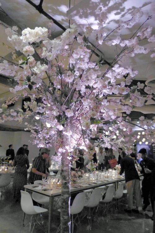 桜の木が「和」を演出する会場におよそ50人のアメリカ人が招待され、日本酒とシーフードを堪能