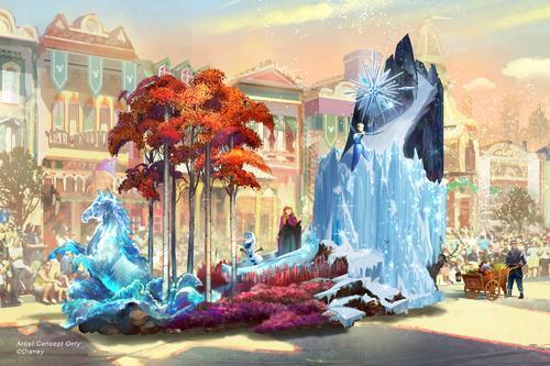 2月28日からスタートする新しいデイタイムパレードには「アナと雪の女王」のキャラクターも (c) Disney