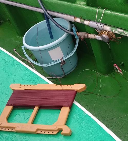 マダコはサオではなく、じかに手で釣る。渋糸とイシガニをくくりつけたテンヤバリ仕掛けを結ぶだけだ
