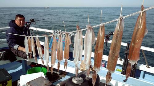 釣ってすぐ腹を開いて竹串を刺してロープにつないで船上干しに
