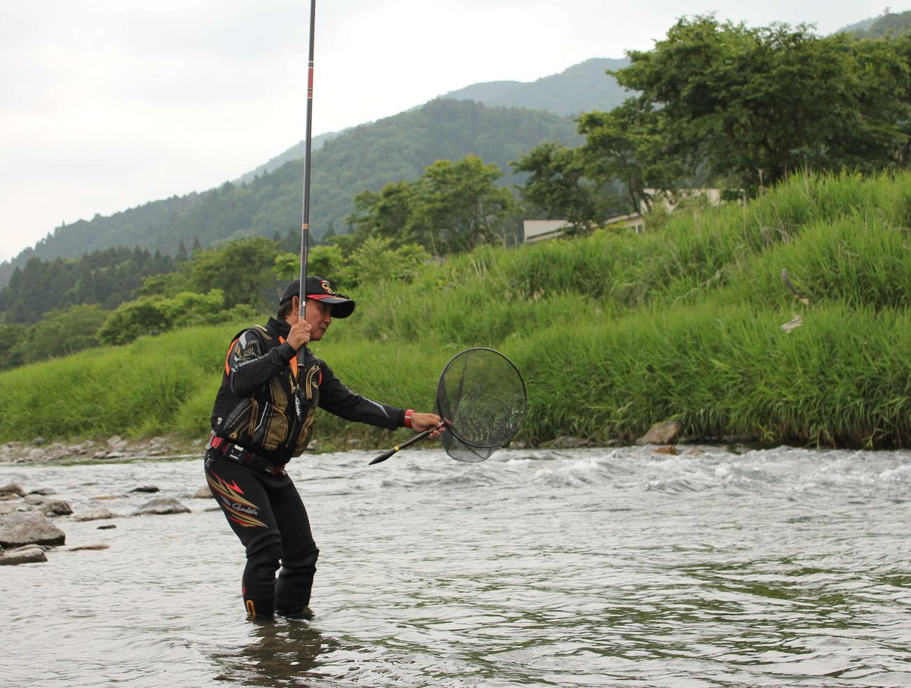 止め泳がせ釣りで野アユを連発させる筆者