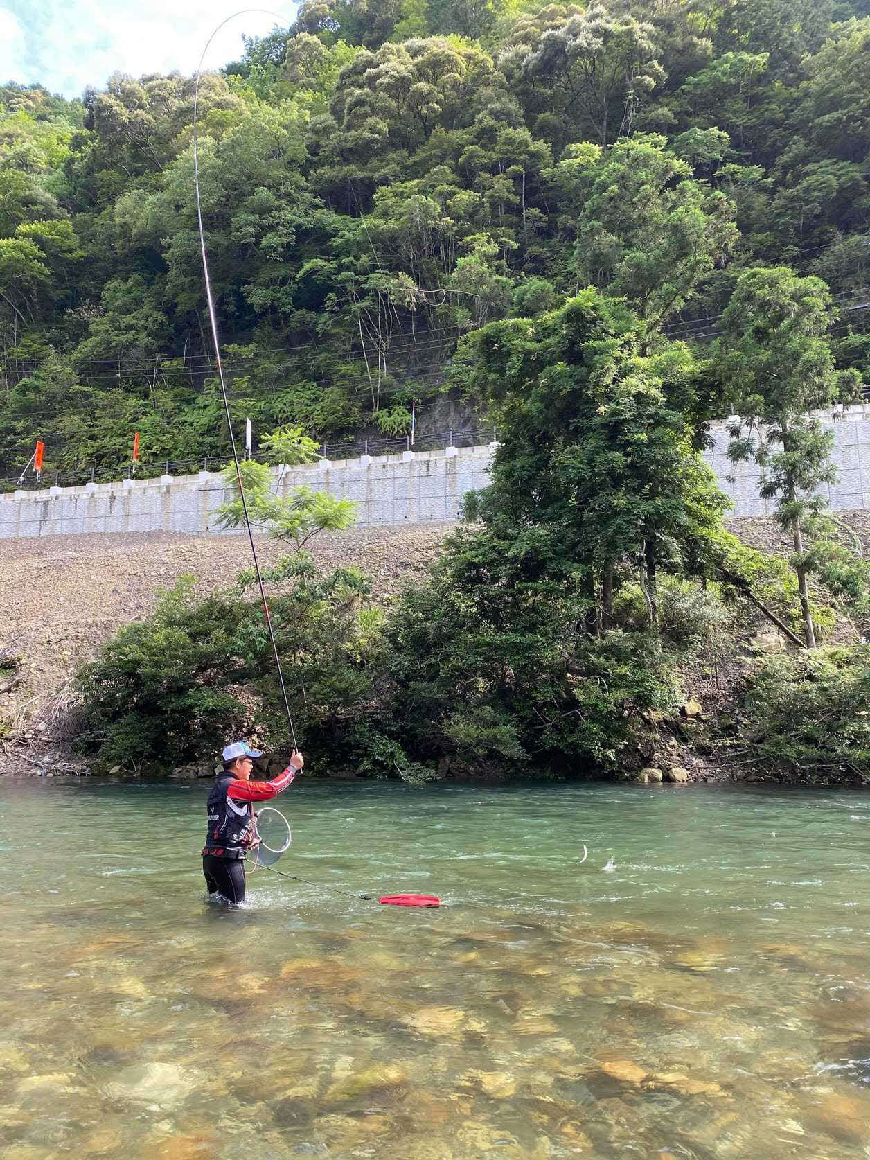 引き泳がせ釣りで次々に野アユを掛けていく筆者