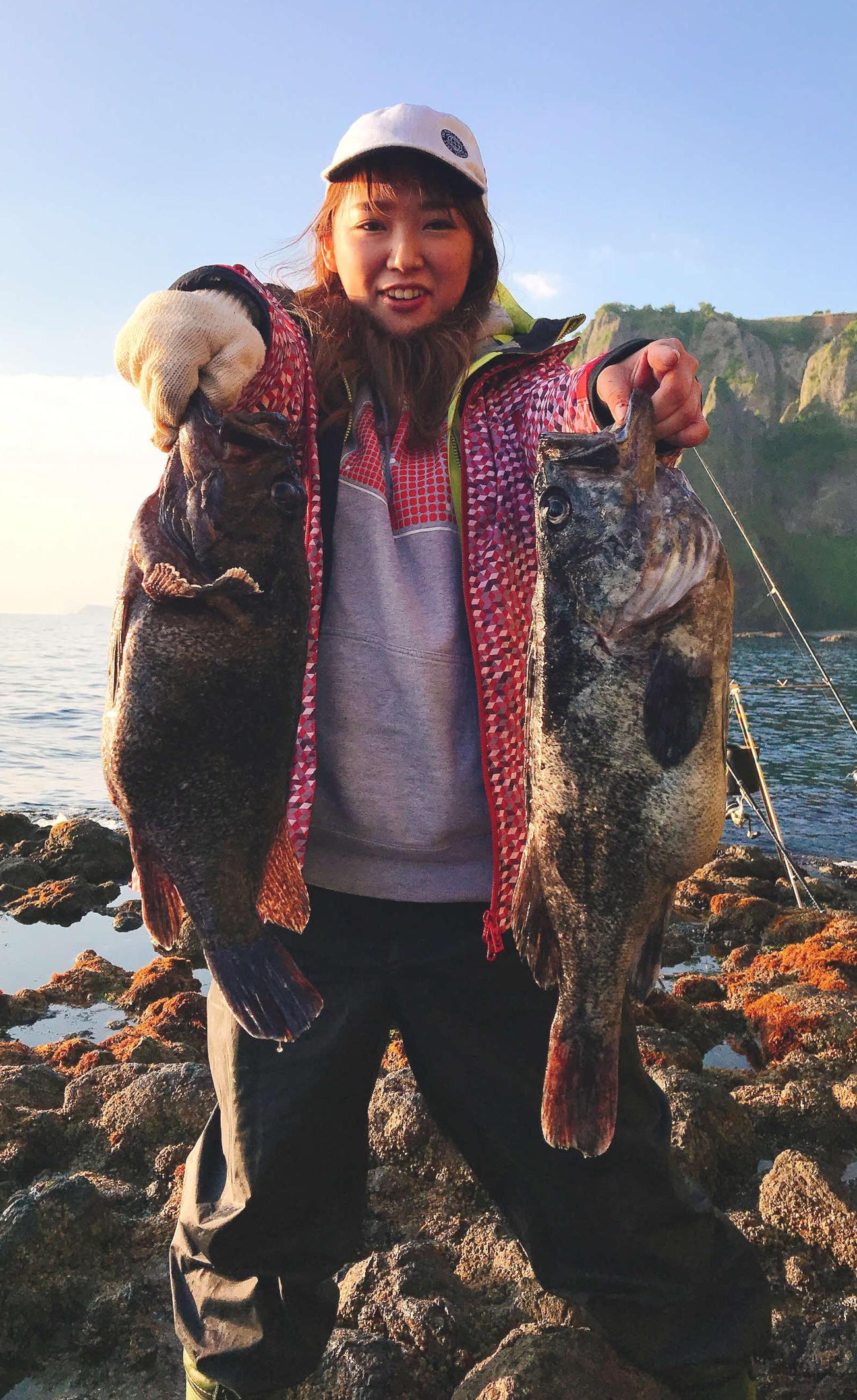 ソイやアブラコの大物を連発で釣り上げた沢田友梨恵さん