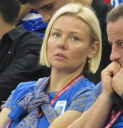 18年世界選手権にビロディドのコーチとして帯同した母スベトラーナさん(撮影・峯岸佑樹)