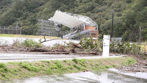 台風の影響でナミビア-カナダ戦が中止となった釜石鵜住居復興スタジアム