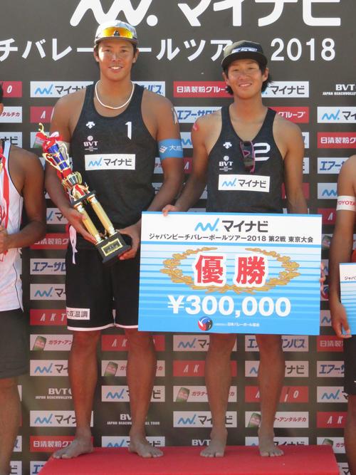 18年5月、マイナビジャパンビーチバレーボールツアー2018第2戦東京大会で男子優勝の長谷川徳海(左)と清水啓輔