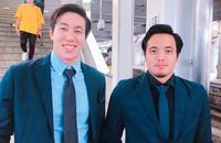 一緒に写真に納まる藤森兄弟の兄太将(左)と弟丈晴