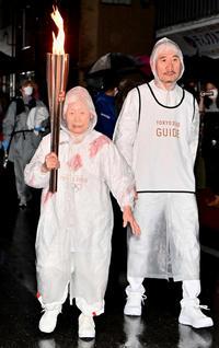 3月28日、栃木での聖火リレーを務めた箱石シツイさん