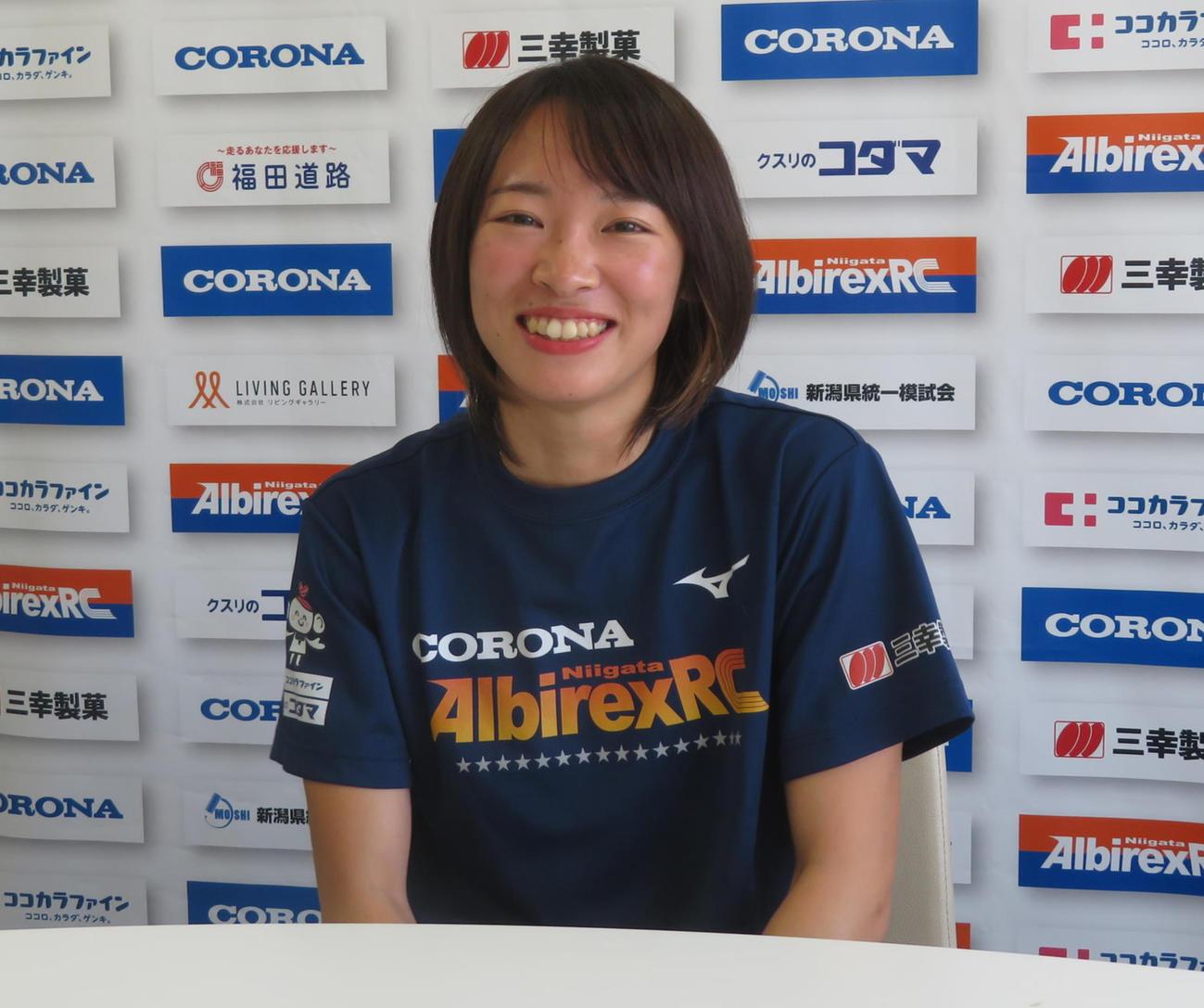 笑顔でインタビューを受ける広田(撮影・上田悠太)