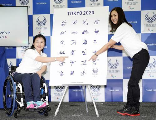 発表された2020年東京パラリンピックのピクトグラム。左は元パラリンピック射撃代表の田口亜希、右はパラトライアスロンの谷真海(共同)