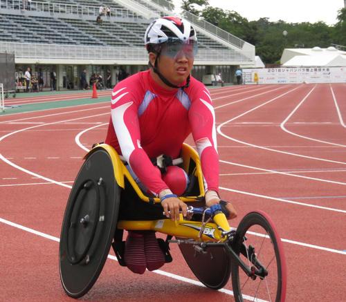 2018年のジャパンパラ陸上、男子1500メートルで優勝した佐藤友祈