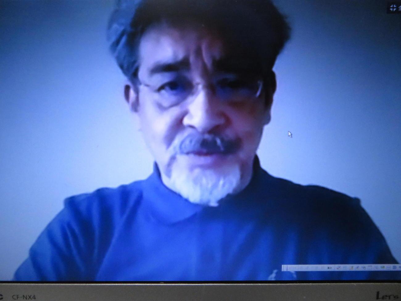 オンラインで会見した日本車いすカーリング協会・浪岡正行強化委員長
