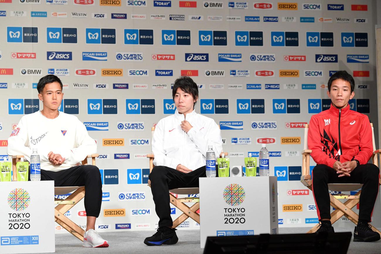 2月28日、東京マラソンの会見に臨む、左から大迫、設楽、井上(撮影・滝沢徹郎)