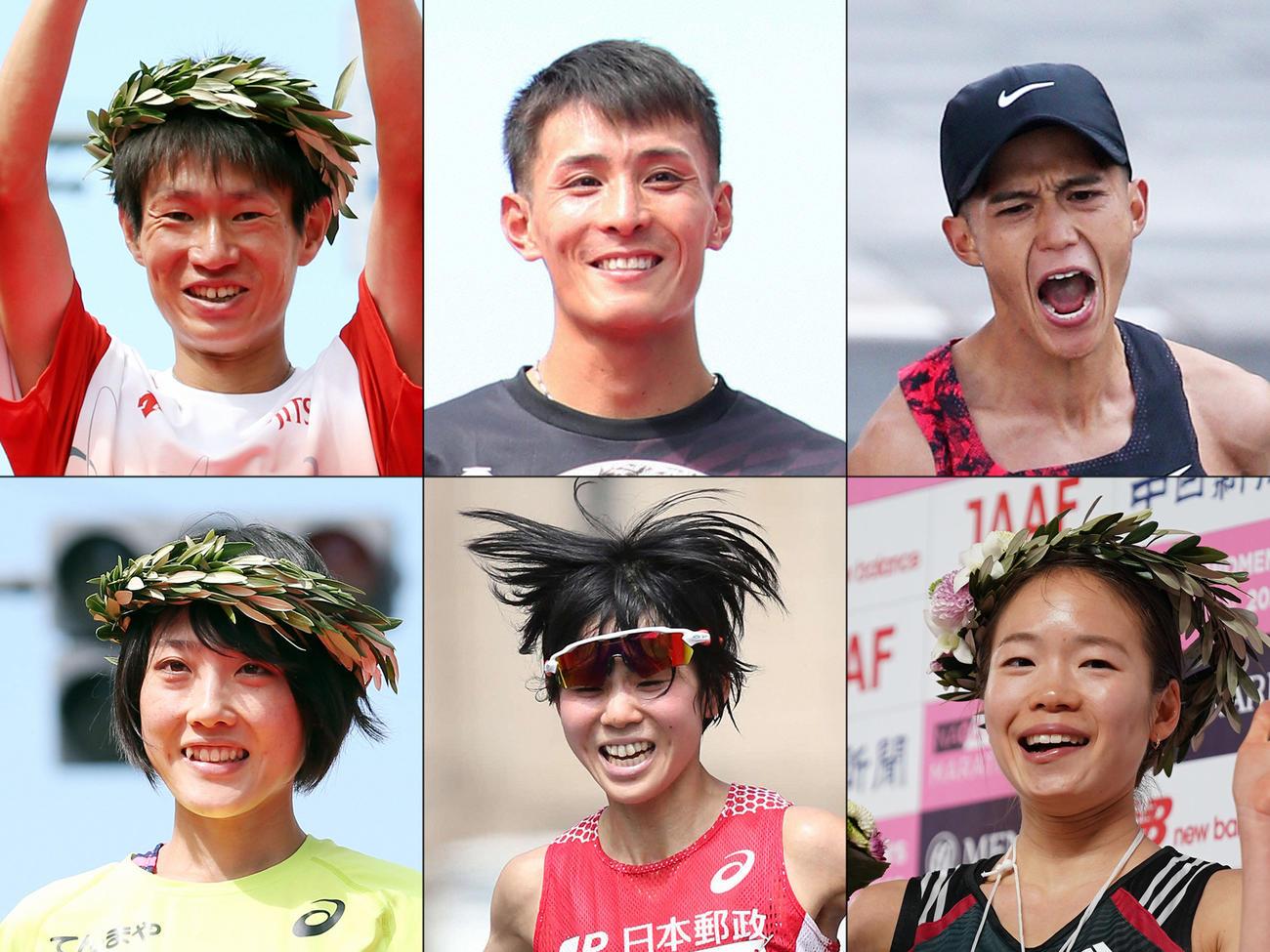 上段左からマラソン男子代表の中村匠吾、服部勇馬、大迫傑。下段左から女子代表の前田穂南、鈴木亜由子、一山麻緒