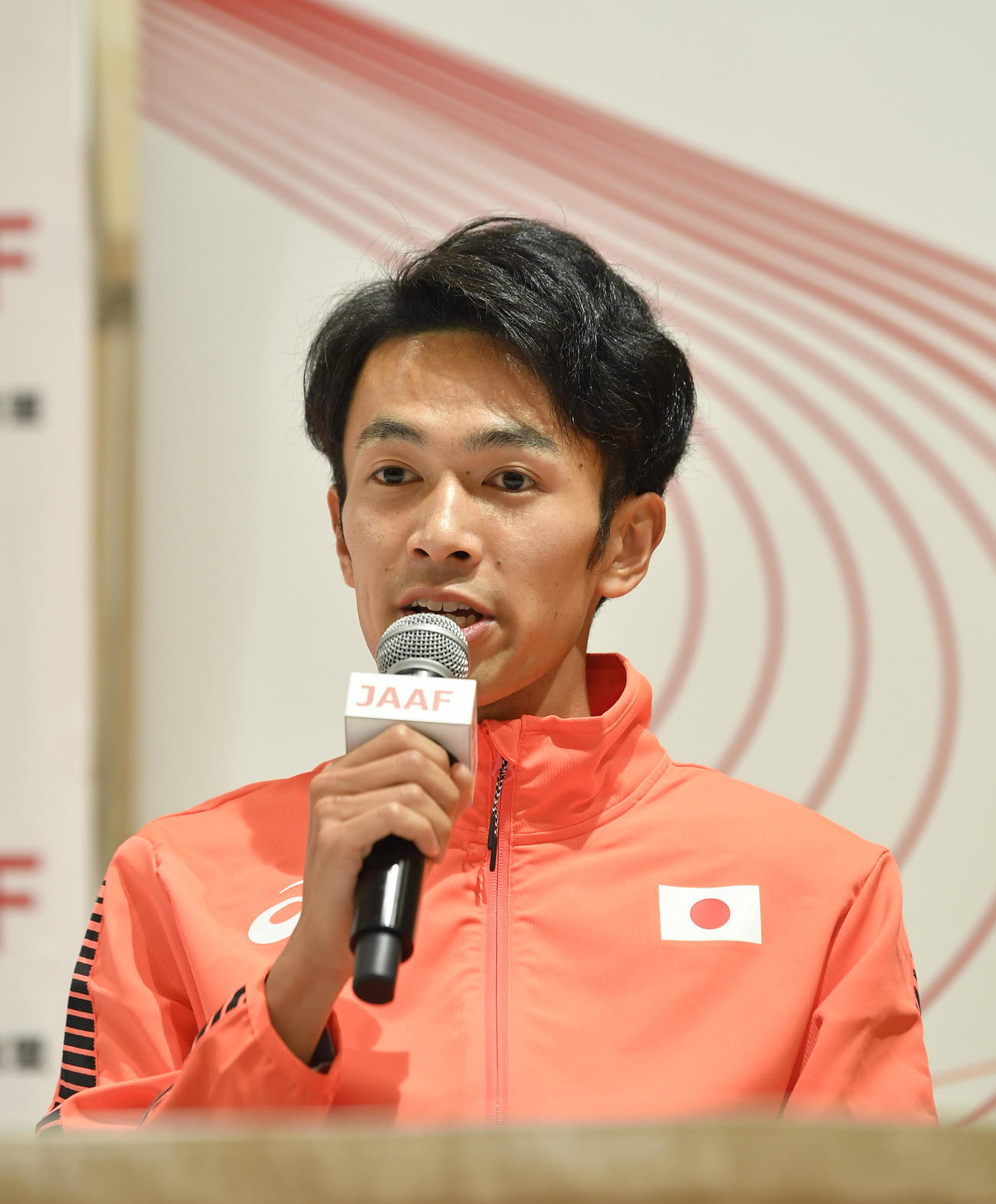 東京五輪代表に決まり記者会見する、男子1万メートルの相沢晃(代表撮影)
