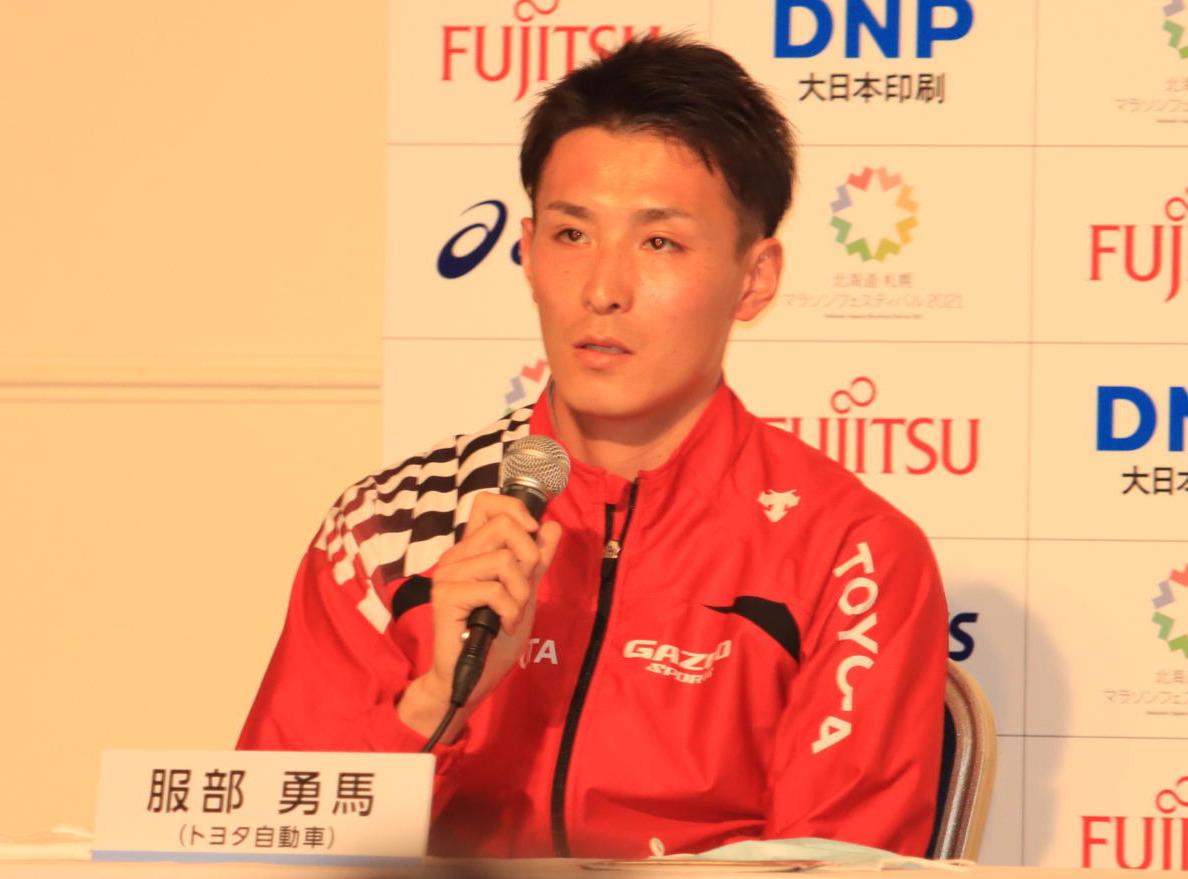 北海道・札幌マラソンフェスティバル2021の前日会見に出席した服部(撮影・保坂果那)