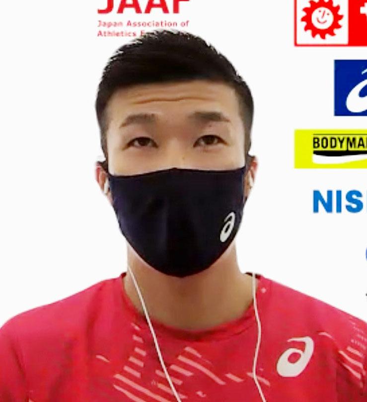 陸上日本選手権を前にオンラインで取材に応じる桐生(共同)