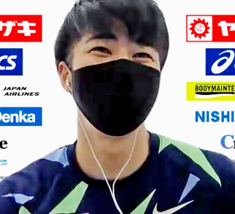 陸上日本選手権を前にオンラインで取材に応じる多田(共同)