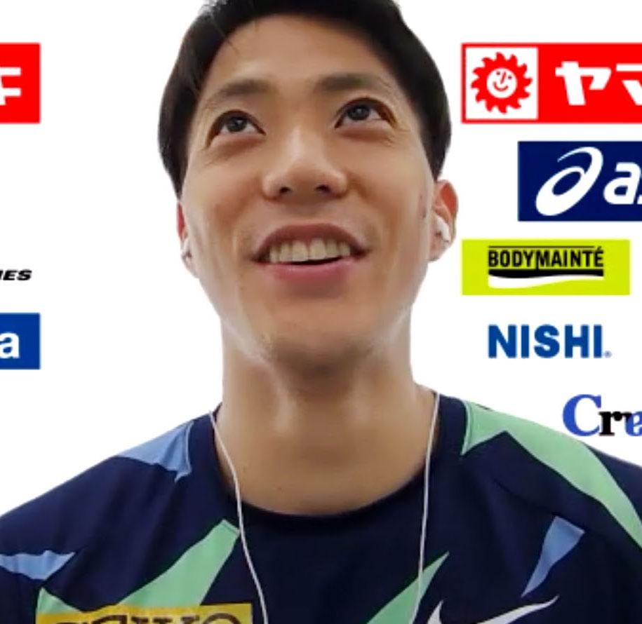 陸上日本選手権を前にオンラインで取材に応じる山県(共同)
