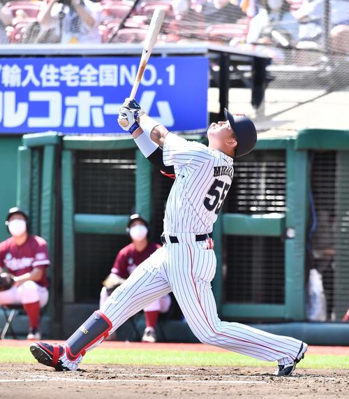 日本代表対楽天 6回裏日本代表無死一塁、捕邪飛に倒れる村上(撮影・上田博志)