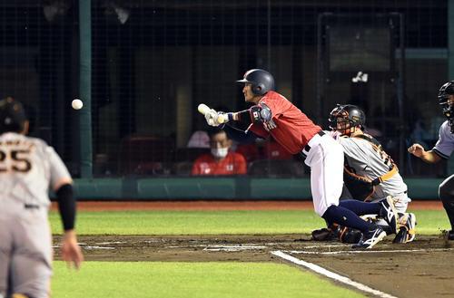 侍ジャパン 強化試合 巨人対日本代表 6回裏日本代表1死一、三塁、スクイズを決める菊池涼(撮影・たえ見朱実)