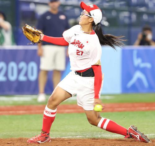 日本対米国 6回裏に上野由岐子に代わって登板した後藤(撮影・河野匠)