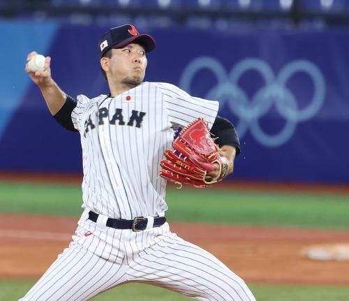 日本対米国 6回に日本4番手で登板した千賀(撮影・河野匠)