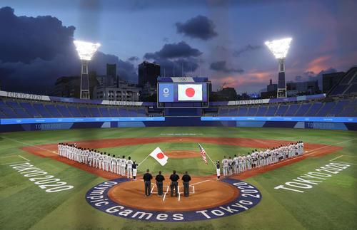 日本対米国 試合前、スタジアムに君が代が流された(撮影・河野匠)