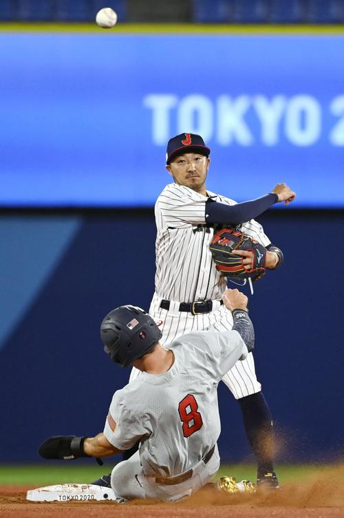 2回、遊ゴロで走者を二封し、一塁に送球して併殺とする二塁手菊池涼(共同)