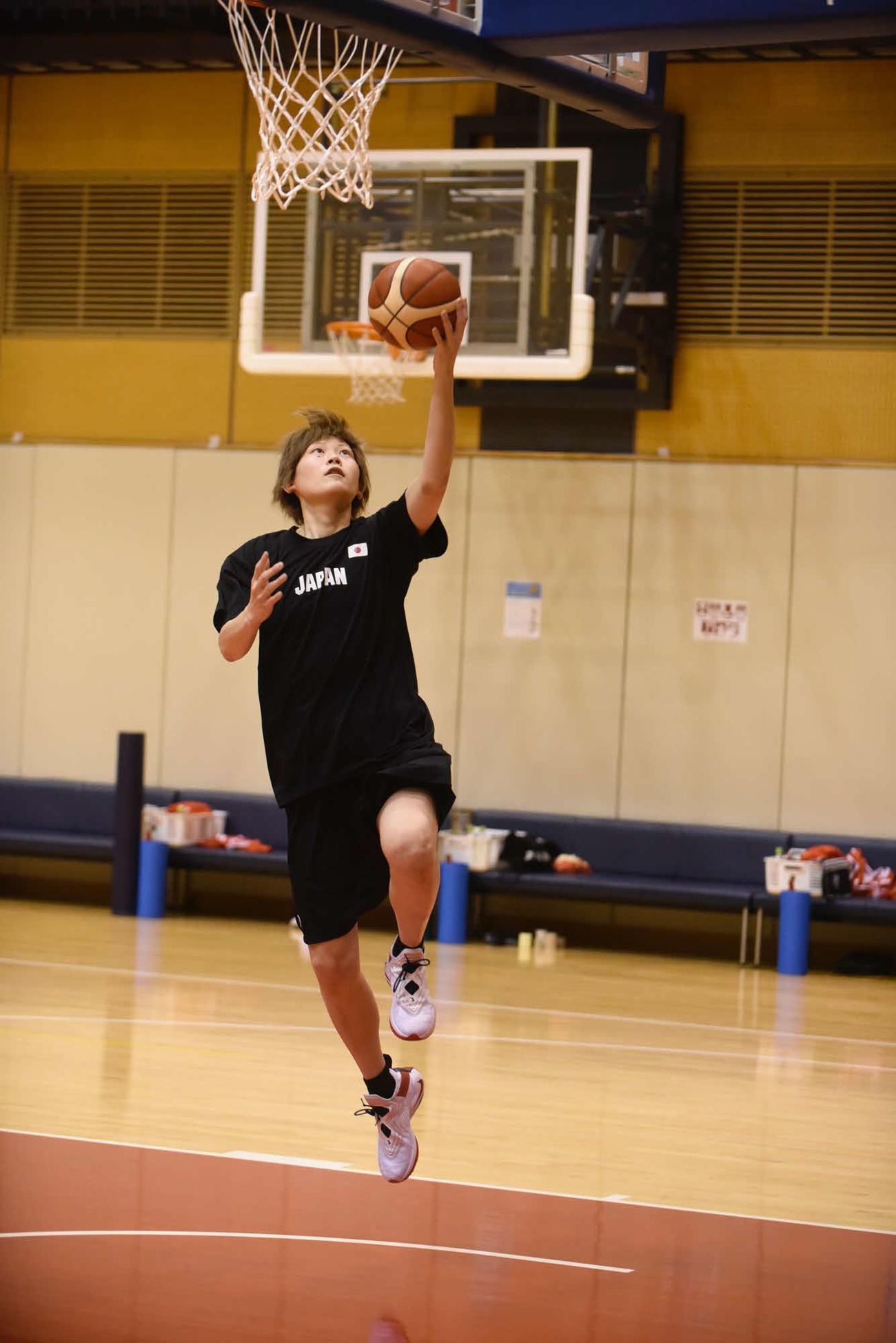 東京五輪女子日本代表候補チームの強化合宿に参加中の高田主将(日本バスケットボール協会提供)