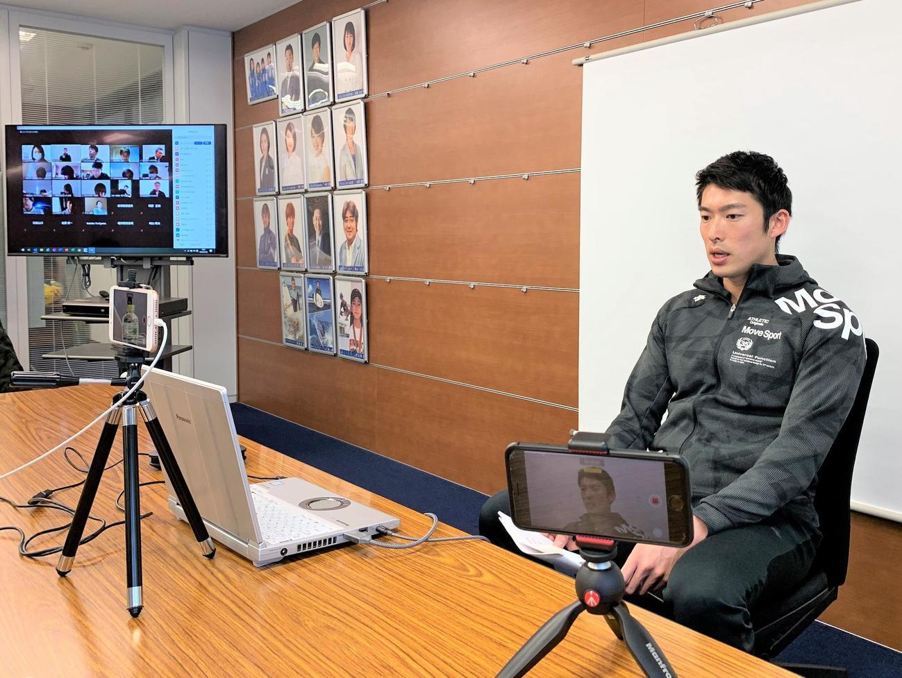 オンライン合同取材に応じたフェンシング男子エペ日本代表の見延(スポーツビズ提供)
