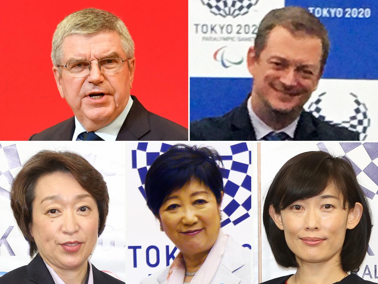 上段左からIOCバッハ会長、IPCパーソンズ会長、下段左から組織委の橋本聖子会長、小池百合子都知事、丸川珠代五輪相