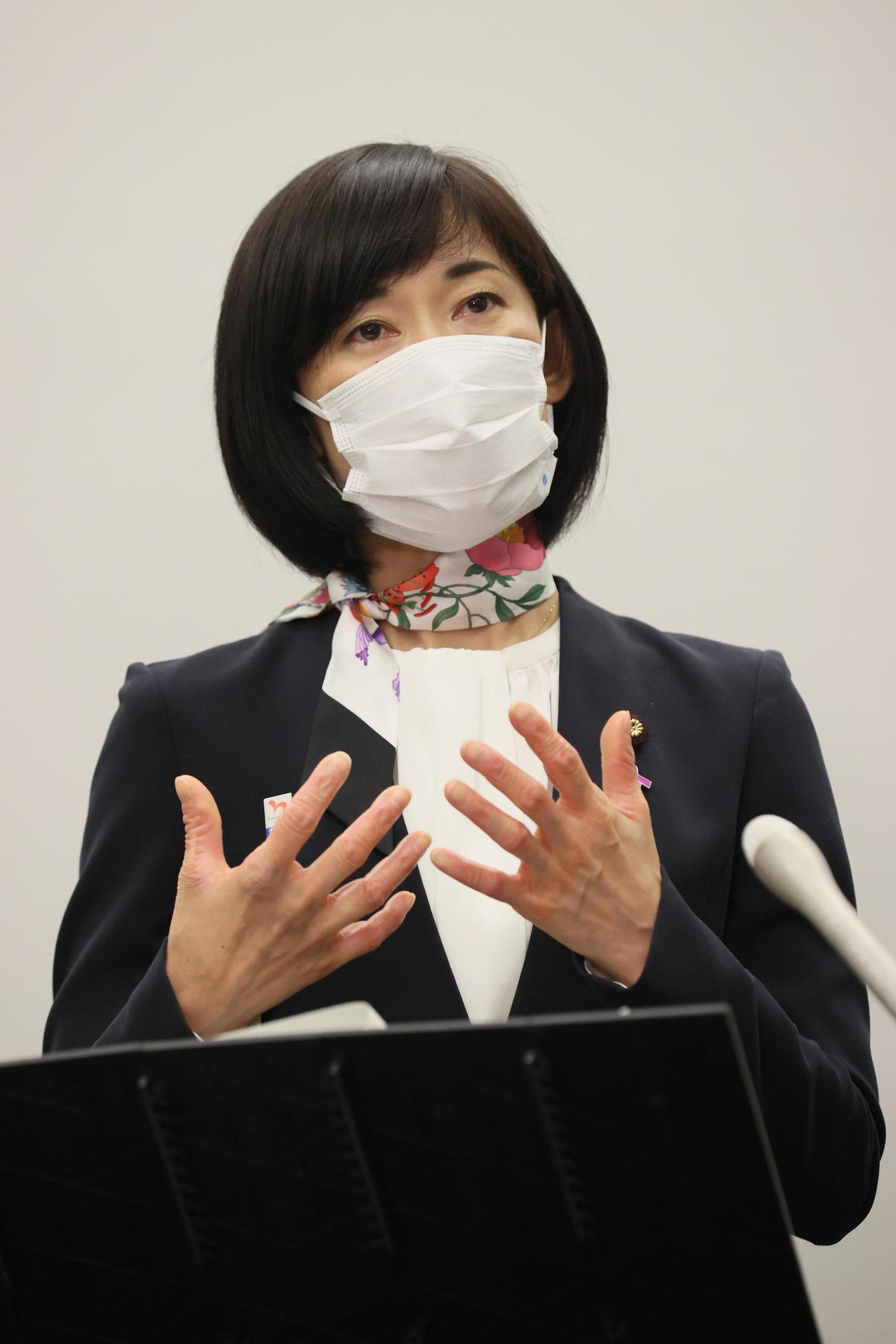 東京五輪・パラリンピックに向けた5者協議を終え、取材に応じる丸川珠代五輪担当相(代表撮影)