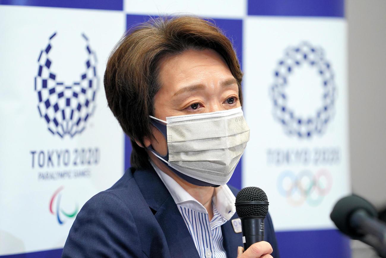 定例会見で話す東京五輪・パラリンピック大会組織委員会の橋本聖子会長