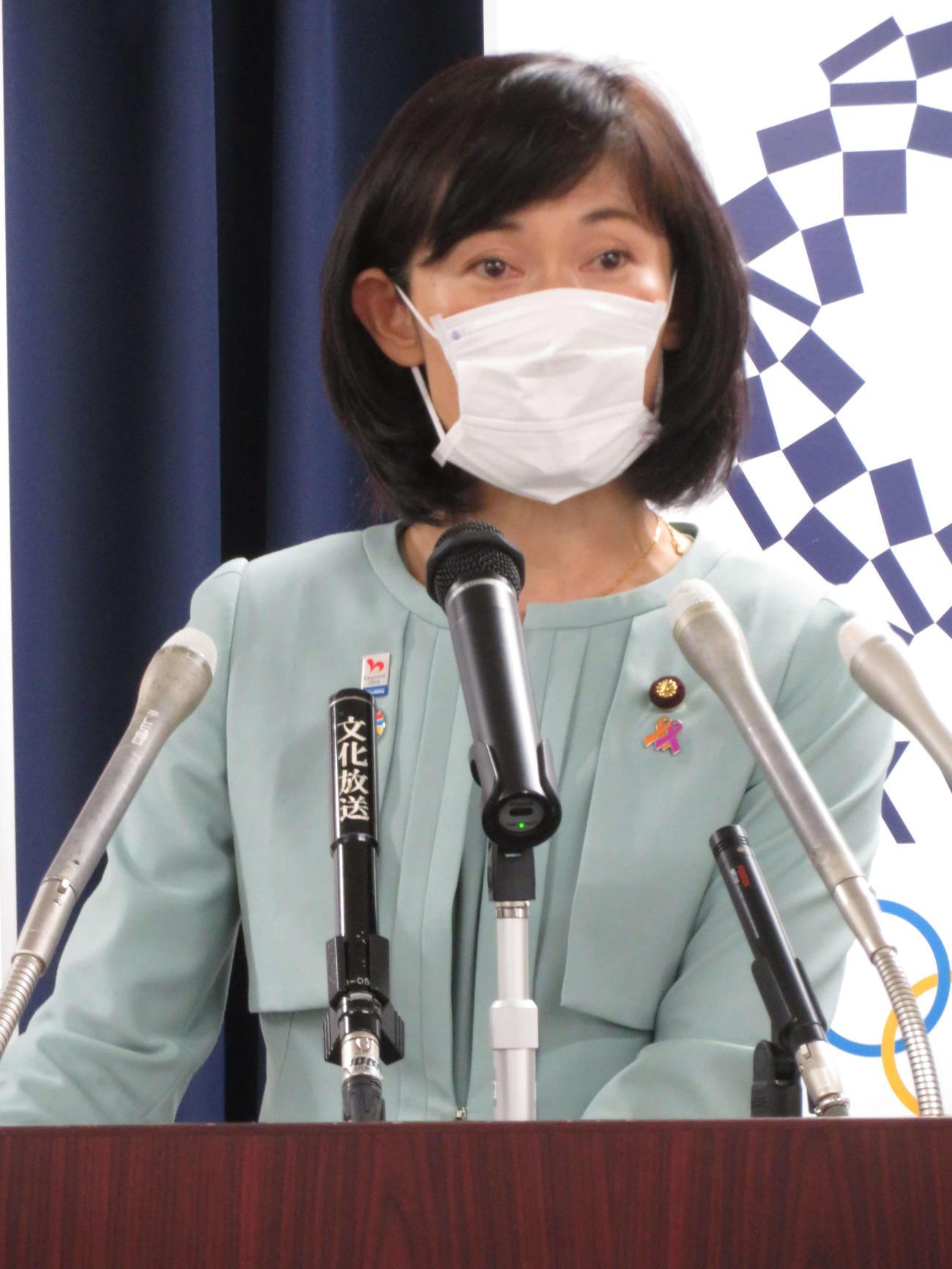 閣議後会見を行った丸川珠代五輪相(撮影・近藤由美子)