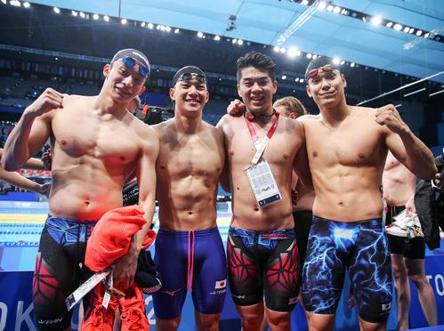 400メートルメドレーリレーで6位だった日本