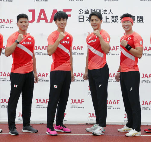 左から小池祐貴、多田修平、山県亮太、桐生祥秀(2021年7月9日撮影)