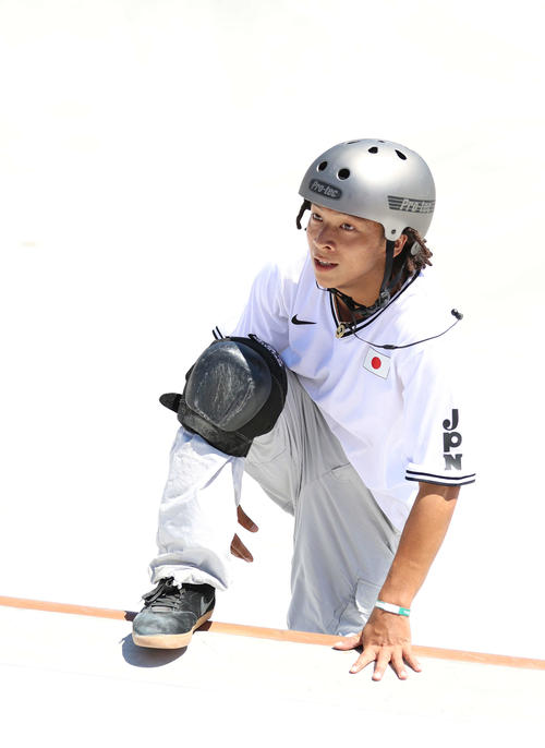 スケートボードパーク男子予選、1本目の演技を終えた平野(撮影・河野匠)