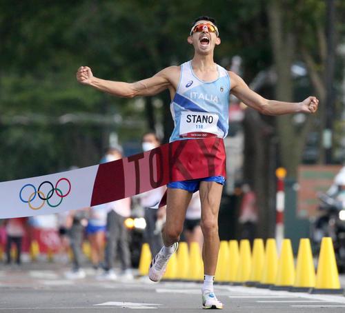 男子20キロ競歩で金メダルのイタリア・マッシモ・スタノ(撮影・佐藤翔太)