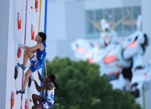 スポーツクライミング男子複合決勝、スピード2本目のレースで先行する楢崎(撮影・河野匠)